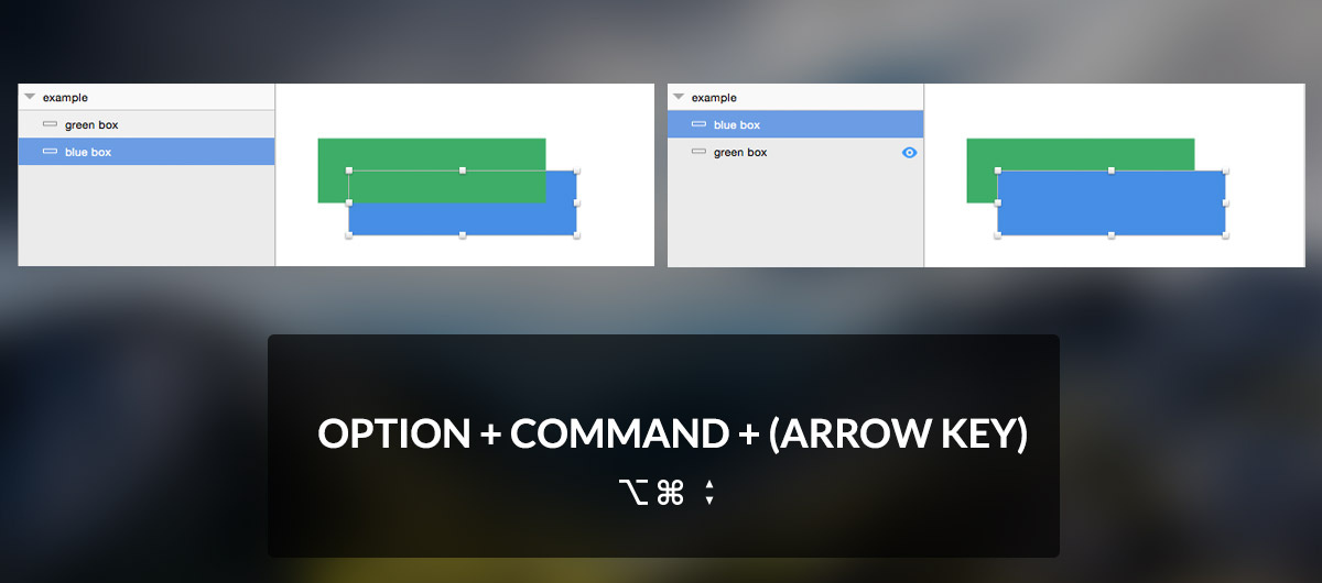 Sketch keyboard shortcut for rearranging layers