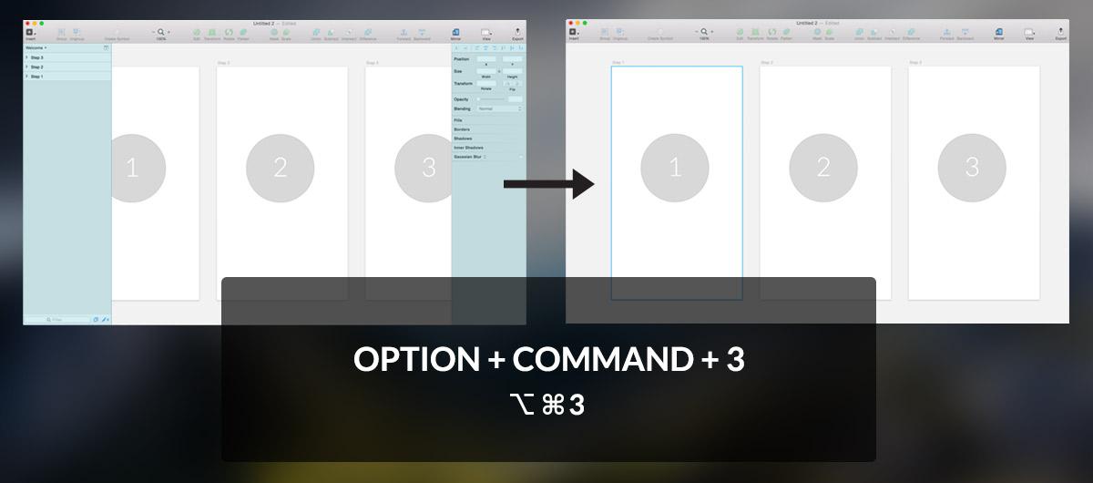 Sketch keyboard shortcuts to hide menus