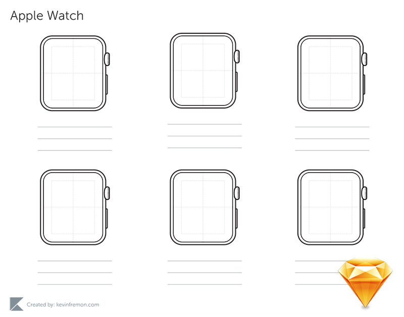Free Sketch Apple Watch Wireframe Template